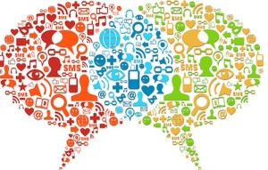 Speech bubbles connection made with social media icons set. Vector file layered for easy manipulation and custom coloring.